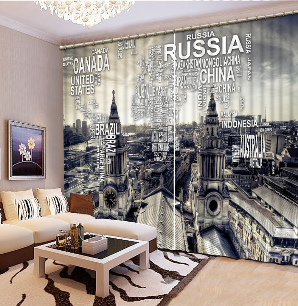 European architecture 3d Curtains For Kids The Bedroom Living Room 100% Blackout Curtains Window Curtain curtains for curtains for kids blackout curtains -