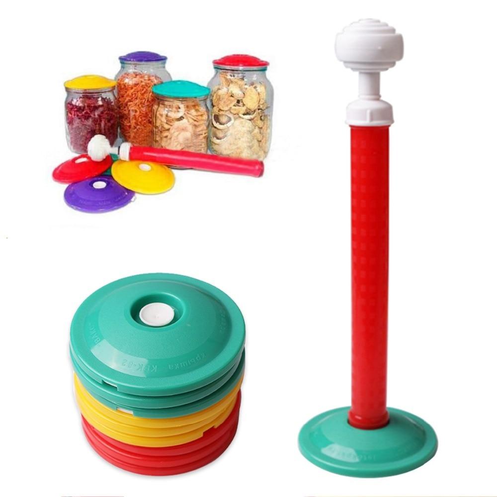9cover + 1PCS / SET Vaakumkate Vaakumsüsteem Vaakum värske hoidmine Kaitse toidu säilitamiseks Hoidke toidu värsket konserveerimistööriista tööriista