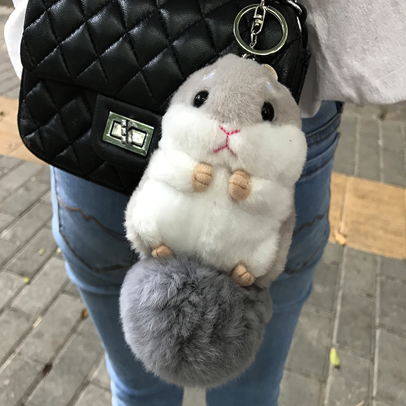 Fashion Cute Hamster Plush Doll Key Chain Silver Ring Woman Bag Charms Rabbit Fur Ball Pom Pom Toy Keychain Car Keyring Trinket