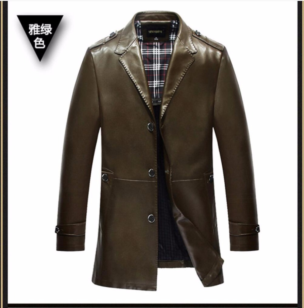 3dcf75a0bf6 M-3XL NEW Men s suit collar leather suit fashion Slim Business casual PU  leather jacket Medium long trench plus size clothing