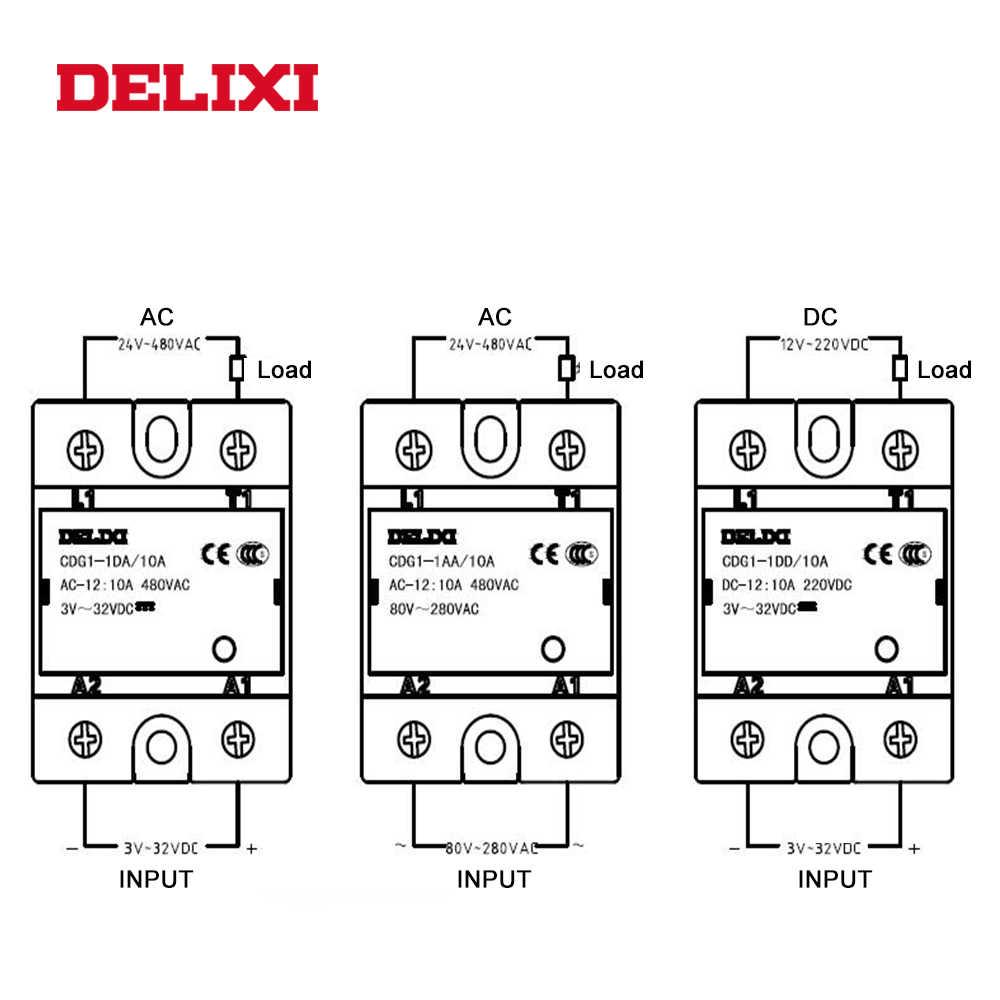 Delixi cdg1 무 접점 릴레이 SSR-10DD 25dd 40dd 60dd 80dd 3-32 v dc에서 12-220 v dc ssr 단상 dc 제어 dc no contact
