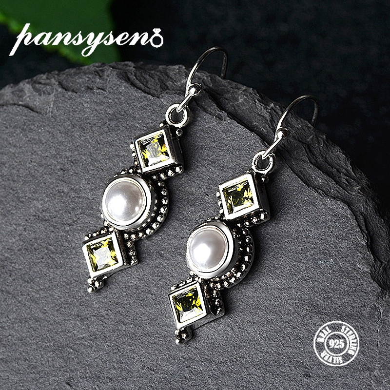 PANSYSEN 2019 Vintage S925 Sterling Silver Pearl Earrings for Women Shiny Female Drop Earrings Fine Jewelry Party Gift Hot Sale in Earrings from Jewelry Accessories