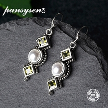 PANSYSEN 2019 Vintage S925 Sterling Silver Pearl Earrings for Women Shiny Female Drop Fine Jewelry Party Gift Hot Sale
