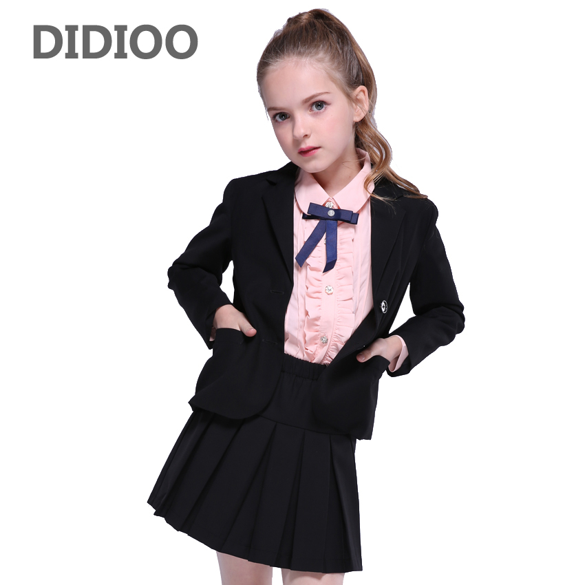 Children Clothes Sets for Girls Long Sleeve Outfits Kids Blazer & Skirt Suits 4 10 12 14 Years Teenage Girls Solid Clothing Sets