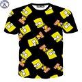Mr.1991 новый 11-19 лет подростки мальчики футболки Европа и Америка стиль губки ребенка 3D печатные мультфильм футболки для детей девочек DT17