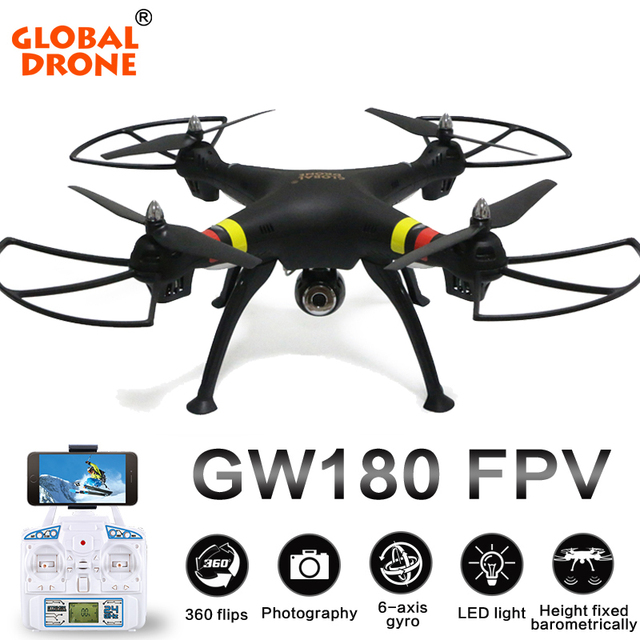 Global Drone GW180 Big Professional RC Helicopter Dron Height Hold Mode With FPV HD Camera RTF Quadcopter Drones In Helicopters From Toys