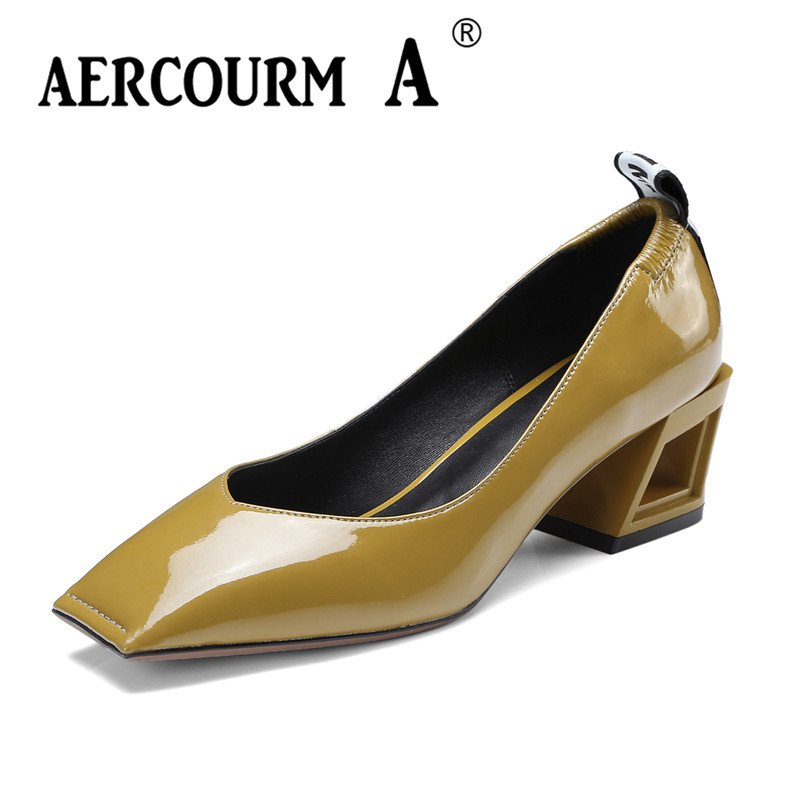 Aercourm A 2018 Spring Women Solid Color Pumps Square Toe Genuine Leather Shoes Square Heel Middle Heels New Black Shoes DTN97 aercourm a 2018 women black fashion shoes female bright genuine leather shoes pearl high heel pumps bow brand new shoes z333