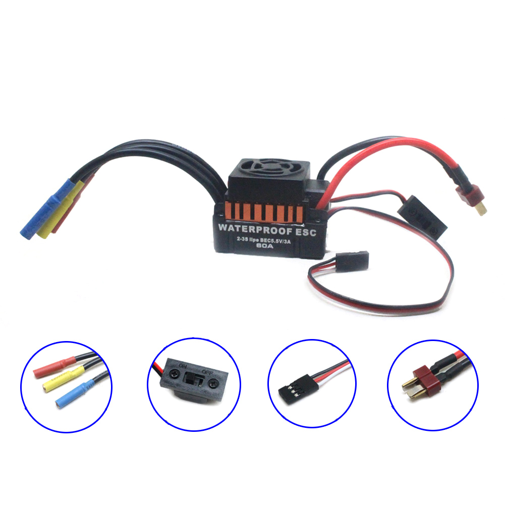 Waterproof 60A Sensorless Brushless Electronic Speed Control ESC for RC Car YH-17 sensorless 35a brushless esc electric speed controller for rc car racing set ft