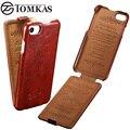 Tomkas caso capa para o iphone 7/7 plus estilo flip cera do couro do plutônio saco do telefone capa para casos apple iphone 7 Coque