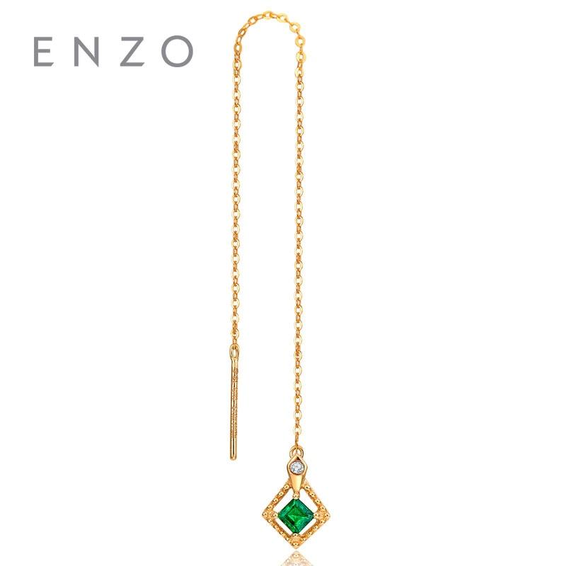 ENZO Natural Gemstone Certified Emerald/Diamond Earrings 18K Yellow Gold Fashion Ear Line for women's earrings Single earring enzo natural gemstone certified garnet earrings 9k yellow gold fashion ear line for women earrings a pair of earrings