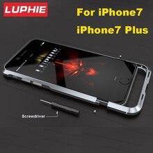 Luphie Ультра Тонкий Авиационного Алюминия Бампер Для iPhone 7 ЧПУ Призматической Формы Металлический Каркас Крышки Кнопка для iPhone7 плюс Бампер