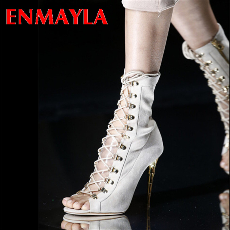 ФОТО ENMAYLA Summer Boots Thin Sexy High Heels Gladiator Sandals Women Rome Peep Toe Party Black Nubick Leather Size 34- 43 Boots