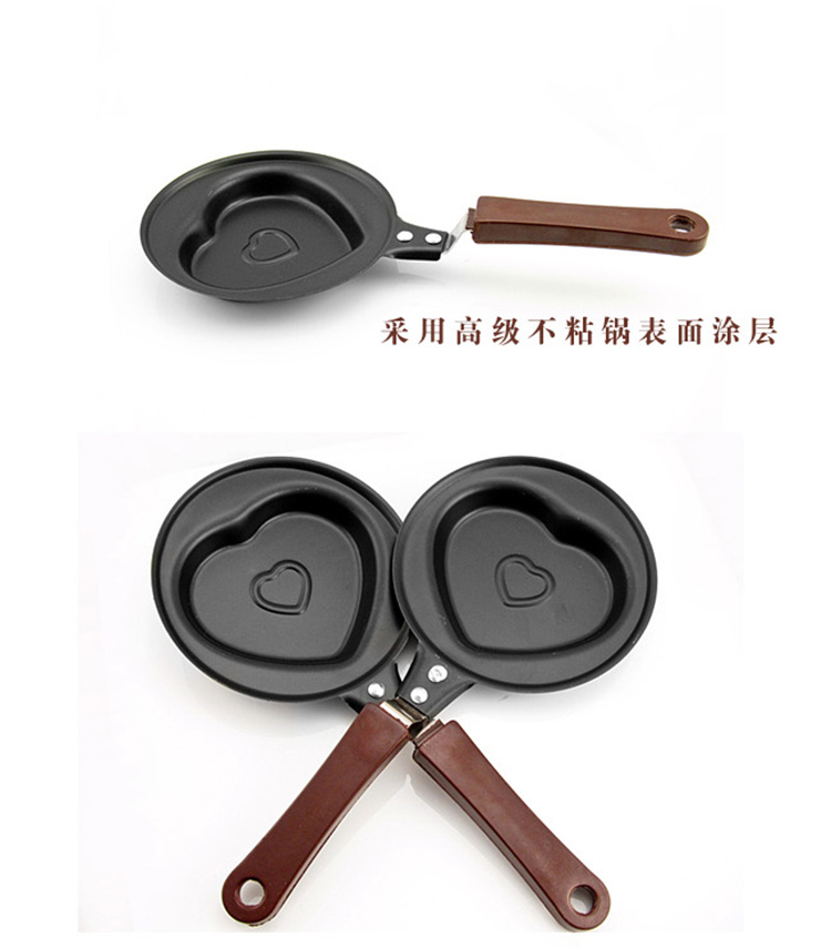 Mini Heart-shaped Frying Pan for egg non-stick cartoon love omelette mold cast iron frying pan for kitchen accessories