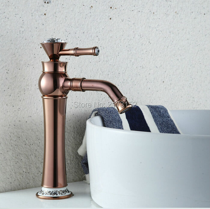ФОТО Free Shipping Luxury Tall Rose Gold Bathroom Faucet Gold Plated Decorated With Diamond Brass Basin Sink Mixer Tap RG-017