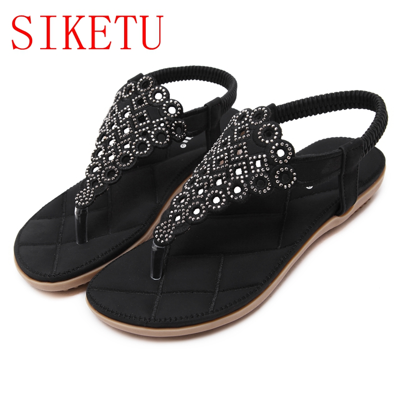 SIKETU New Women Bohemia Flat Sandals Shoes Woman String Bead Flip Flop  Metal Decoration Beach Sandals Casual Shoes Q26 6-in Women s Sandals from  Shoes on ... cfa81e6ac2ea
