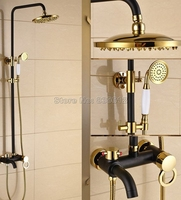 Luxury Black Oil Gold Brass Bathroom Rain Shower Faucet Set With 8 Inch Shower Head Single