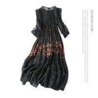 Silk print beach long dress 2018 new runway women summer dress high quality office lady a line chiffon dress