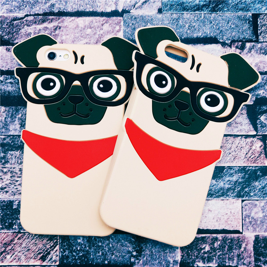 Hot <font><b>New</b></font> 3D Lovely Cartoon Handsome <font><b>Glasses</b></font> Dog Funda Capa Soft Silicone Phone Cases Cover <font><b>For</b></font> <font><b>iPhone</b></font> <font><b>5</b></font> 5G 5S SE <font><b>6</b></font> 6G 6S 6Plus