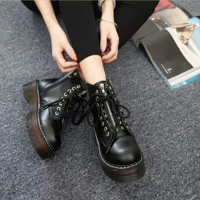 MUQGEW kışlık botlar kadın 2018 Yuvarlak Ayak tek ayakkabı Ön Bağcıklı Çizmeler Kaymaz Fermuar Martin Çizmeler botas feminina