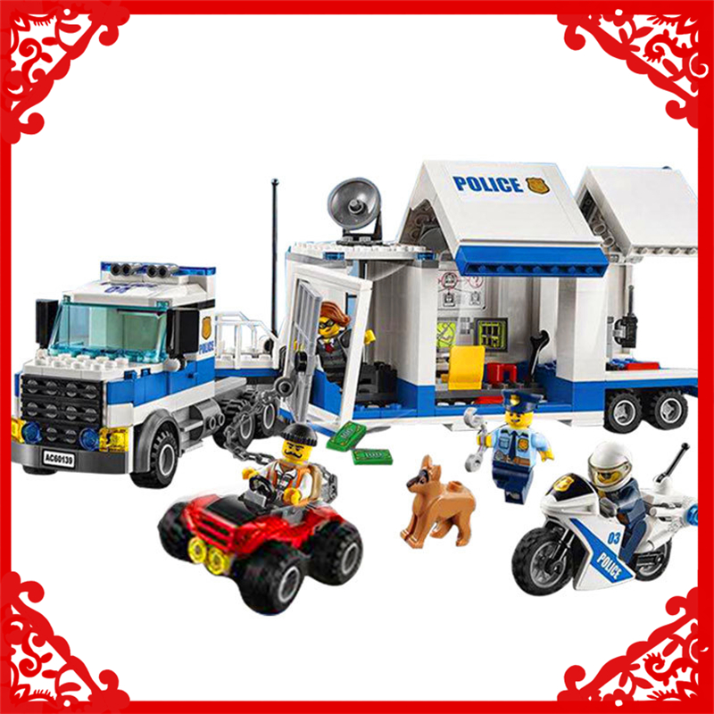 374Pcs City Police Mobile Command Center Model Toys Building Block LEPIN 02017 Educational Gift For Children Compatible Legoe lepin 22001 pirate ship imperial warships model building block briks toys gift 1717pcs compatible legoed 10210