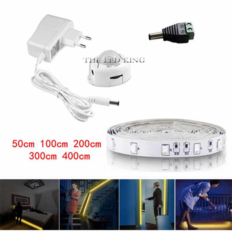 Pir モーションセンサーバッテリー LED ストリップライト 2835 ない防水ベッドキャビネットクローゼット光 1 メートル 2 メートル 3 メートル 5 12V LED ストリップランプテレビバックライト