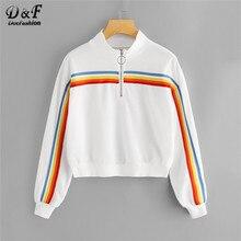 b2da6333f Dotfashion White Striped Zip Neck Crop Sweatshirt Women Casual Autumn Stand Collar  Half Placket Female Long Sleeve Pullovers