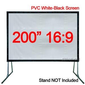 200 дюймов 16:9 Портативный ПВХ мягкий бело-черный быстро складывающийся наружный проектор экран светодиодный LCD HD проекция фильма