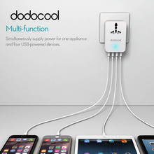 dodocool 4 USB Charger 20W Universal Power Plug for iPhone 7 Travel Converting Adapter Surge Protector with 4 USB Charging Ports