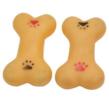 2 Pieces Pet Puppy Dog Supplies Chew Toy Squeaky Yellow Soft Rubber Bone Gift