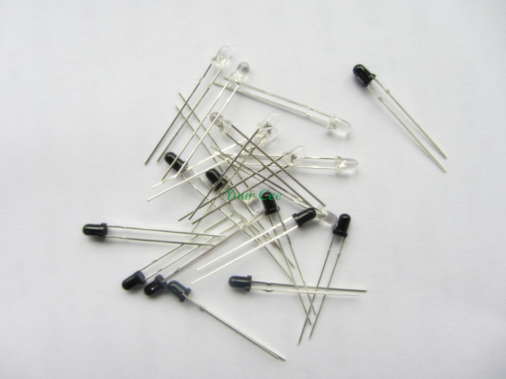100pairs LED 3mm 940nm IR Infrared Emitting & Receiving Diode Round Tube Light