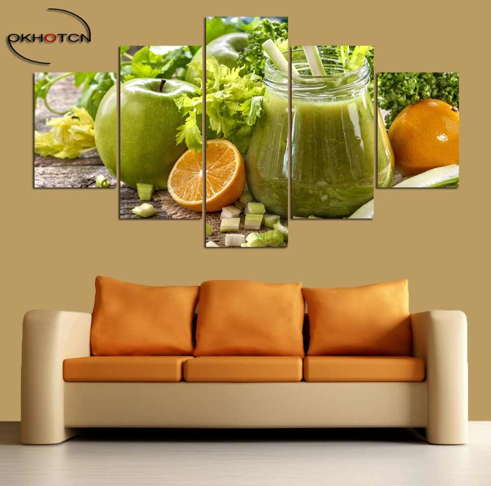 Mixed Juice Orange Apple Vegetables 5 Pieces/Set Painting Unframed Pictures Modular Prints Poster Living Room Decor