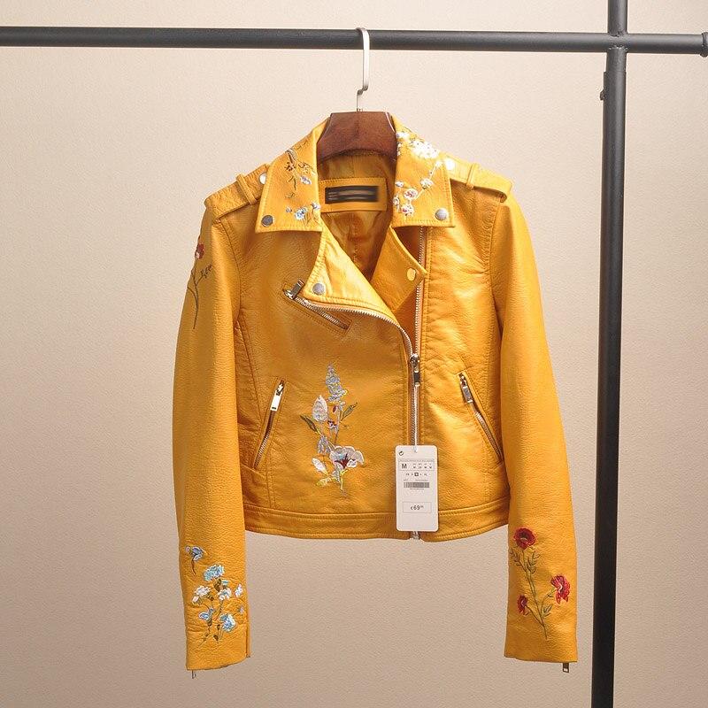 Femmes Manches Automne Style Fleur rose Couleurs Revers Longues jaune Rue En 3 Pu Outwear Cuir Noir Embroridery Locomotive Col Dame Vestes 2017 À g56qwdg