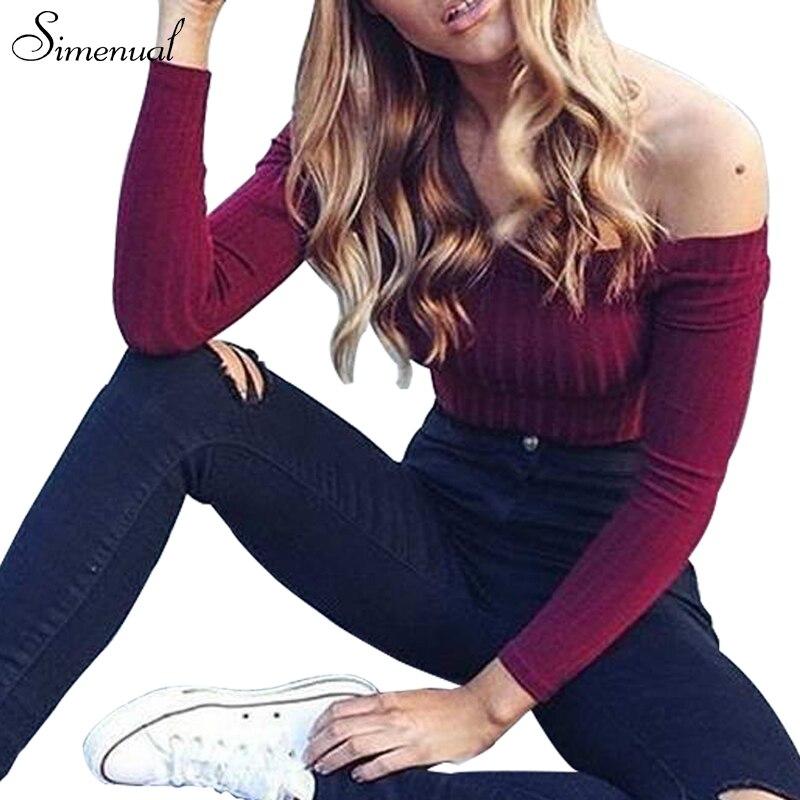 Outono novo 2017 fora do ombro superior colheita camisetas venda quente manga longa sólidos curto camisetas para as mulheres vestuário de moda t-shirt magro