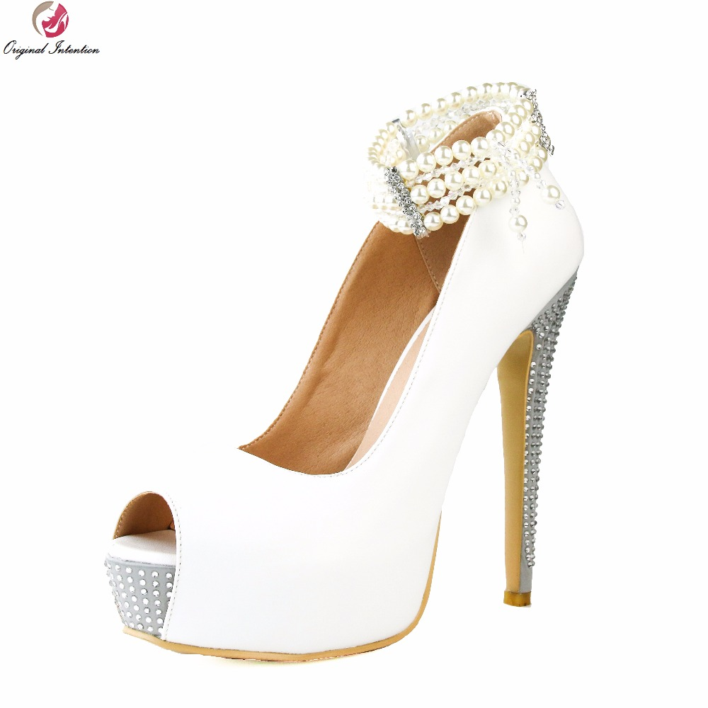 Original Intention Super Elegant Women Pumps Fashion String Bead Peep Toe Thin High Heels White Shoes Woman Plus US Size 4-15