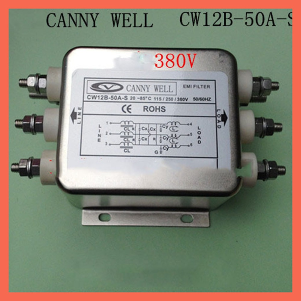 power supply filter CW12B-50A-S Larg e current 50 a three-phase 380 v EMI Filter Electronic Components цены