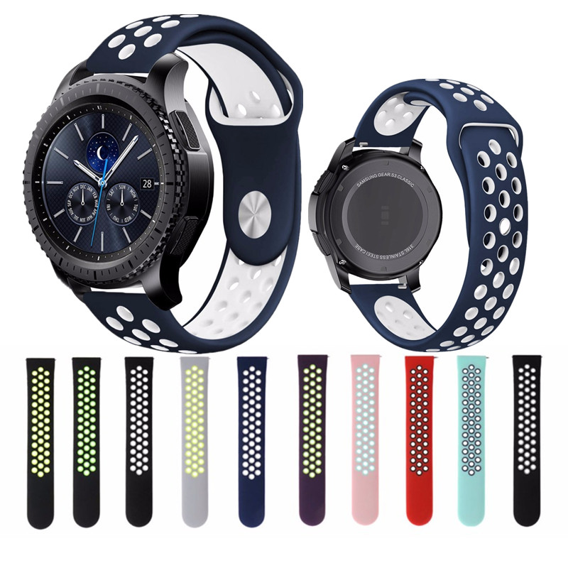EIMO 22mm Sport Silicone Strap for Samsung gear s3 Frontier/Classic band Replaceable Bracelet Breathable Watchband wrist belt 22mm nylon watch band for samsung gear s3 classic frontier zulu fabric strap wrist belt bracelet black gray blue brown green