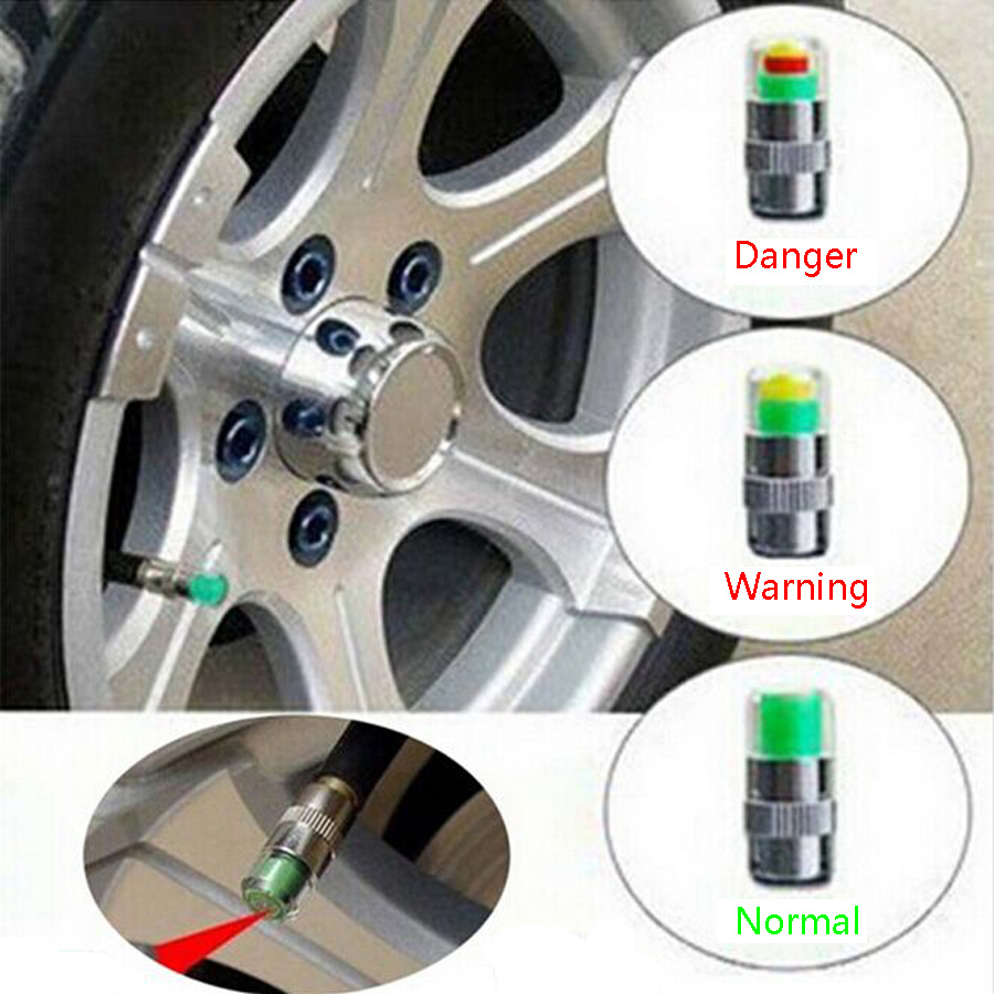32 Psi 2.2 Bar Air Warning Alert Tire Valve Pressure Sensor Monitor Tyre Cap Indicator For Auto Car New 4PCS Universal Car Use