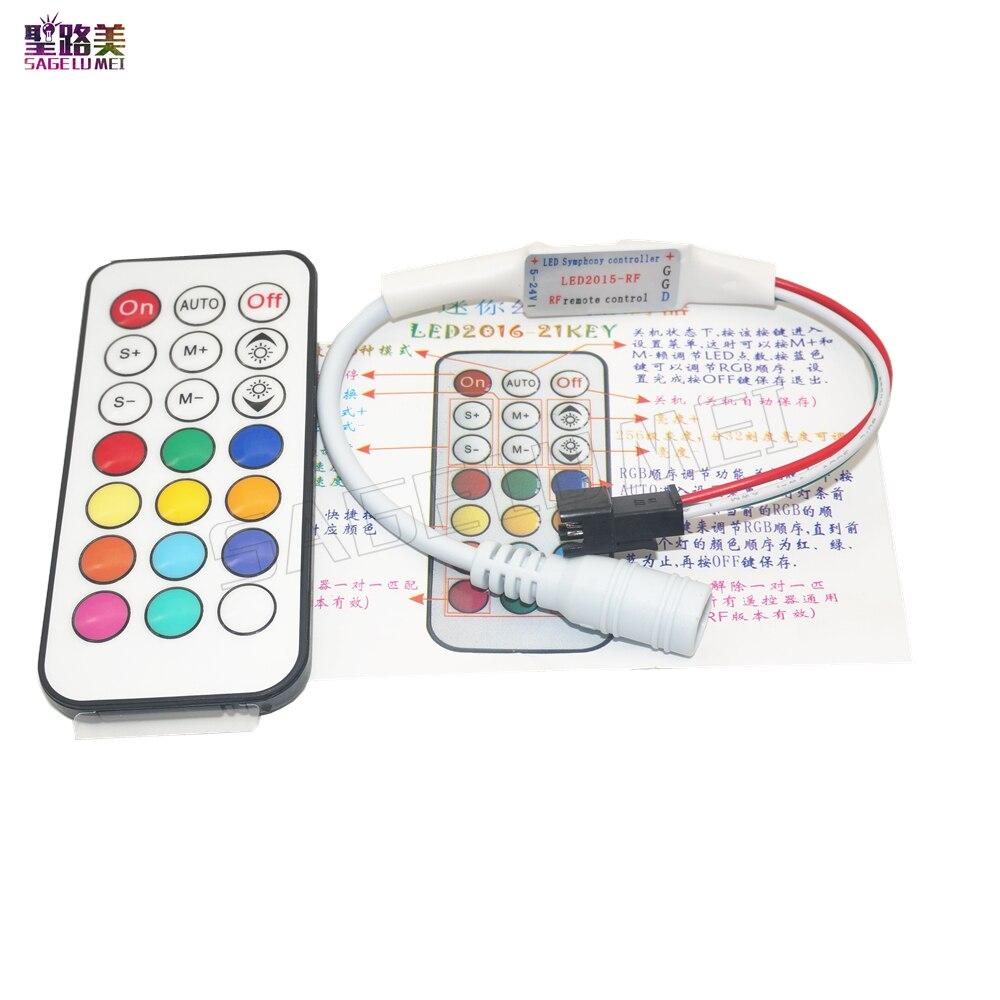 21keys DC5V 12V WS2811 WS2812 RF LED Controller Led Pixel RF Controller For 1903 6812 Full Color RGB Led Strip Light Tape Ribbon