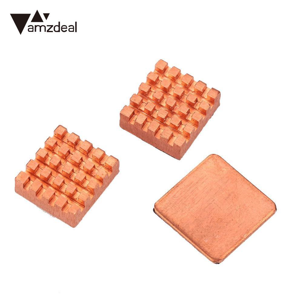 amzdeal 2017 New 3PCS Pure Copper Slice Heat Sinks Cooling Fin Kit For Raspberry PI 3 Model B 75 29 3 15 2mm pure copper radiator copper cooling fins copper fin can be diy longer heat sink radiactor fin coliing fin