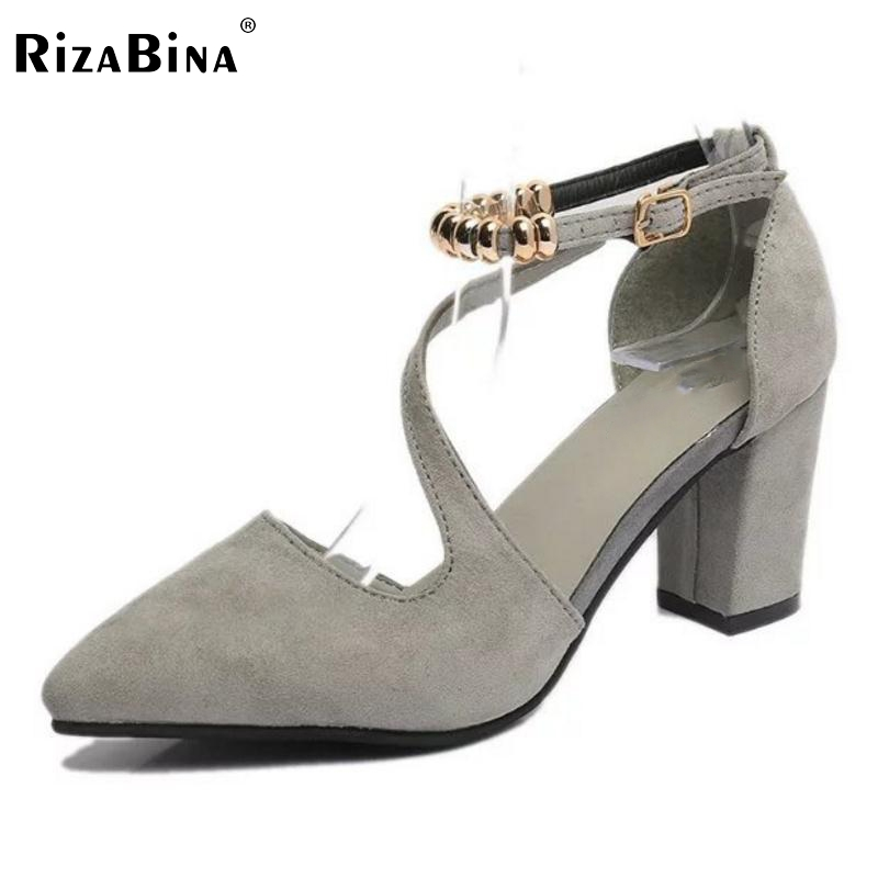 Female High Heel Sandals Women Ankle Strap Beading Thick Heels Sandal Pointed Toe Party Sexy Shoes Lady Soft Footwears Size 34-3
