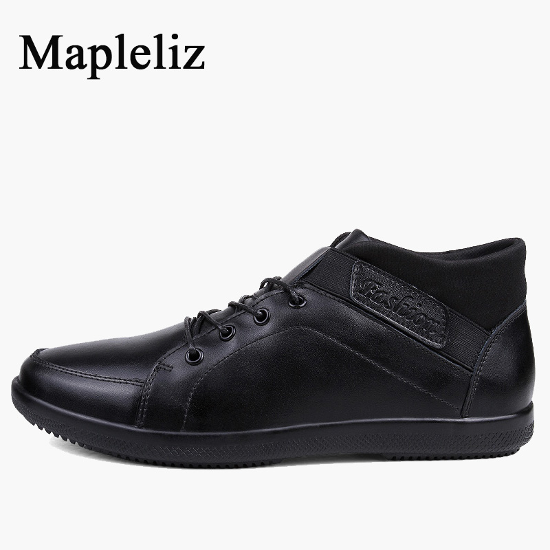 Mapleliz Brand Round Toe Ankle Full Grain Leather High Quality Boots For Men Winter Keep Warm Lace-Up Sewing Solid Men Boots popular high quality full grain leather ankle boots size 40 41 42 43 44 sequined decoration zipper design round toe boots