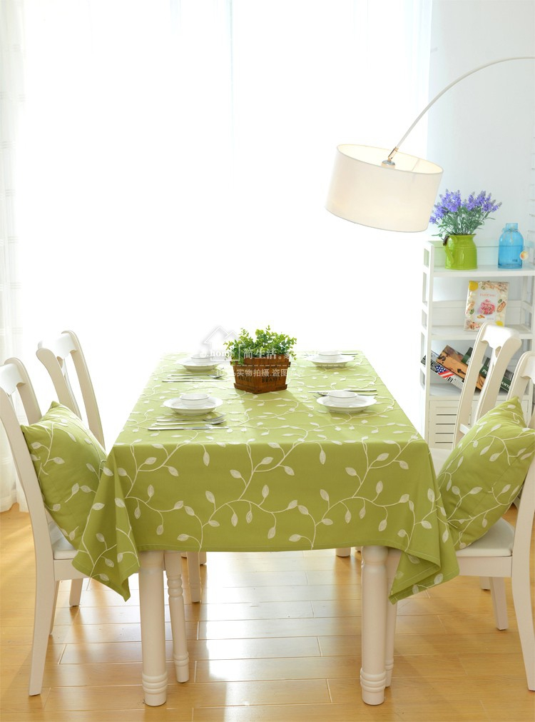 natural tablecloth pastoral floral fabric Embroidery cloth green leaves olive round rectangle table cover in Tablecloths from Home Garden