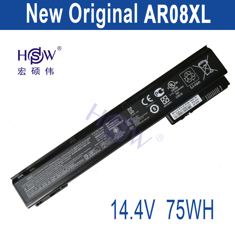 HSW 14.4V 75WH New Laptop Battery AR08XL For HP ZBook 17 15 Mobile Workstation HSTNN-IB4H AR08XL AR08   bateria 90wh new laptop battery for hp zbook 15 g3 17 g3 808398 2c1 808452 001 hstnn db7d vv09xl