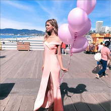 2019 New Style Sexy Long Dress Women Off Shoulder Slash Neck Solid Pink Summer Beach Dresses Looes Maxi Vestidos