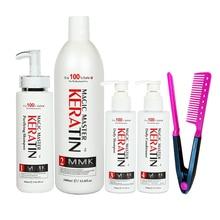 1000ml Magic Master Keratin Hair Treatment+Purifying Shampoo and Daily Shampoo&Conditioner Straighten Hair Set+Free Red Comb