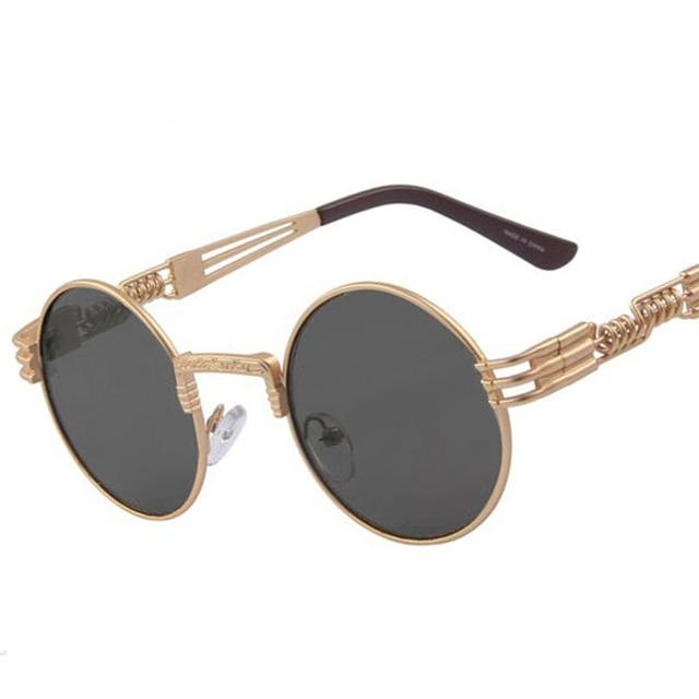 abd0fd53a11a6 Vintage 10 Colors Hollow Out Legs Women Steampunk Sunglasses Retro Men  Round Sunglasses Metal Frame Mirror