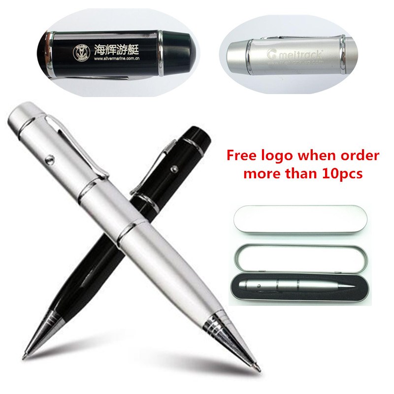 Custom Logo Ballpoint Pen Model Laser Light Usb Flash Pen Drive Memory Stick Pendrive 4GB 8GB 16GB 32GB 64G With Metal Box