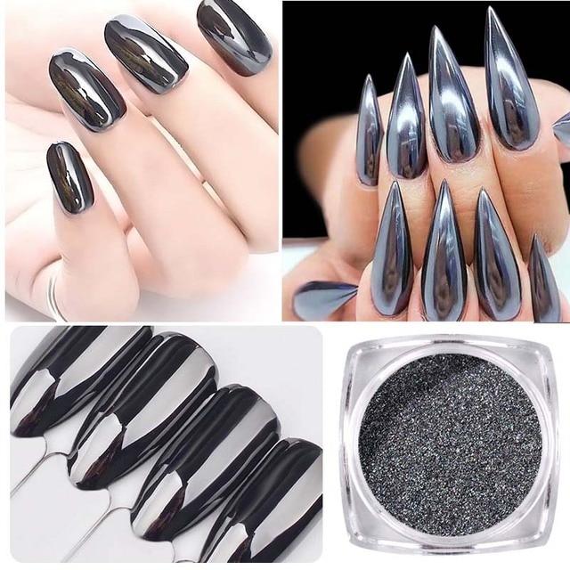 1g espejo negro Brillos de uñas Polvos de maquillaje brillante polvo ...