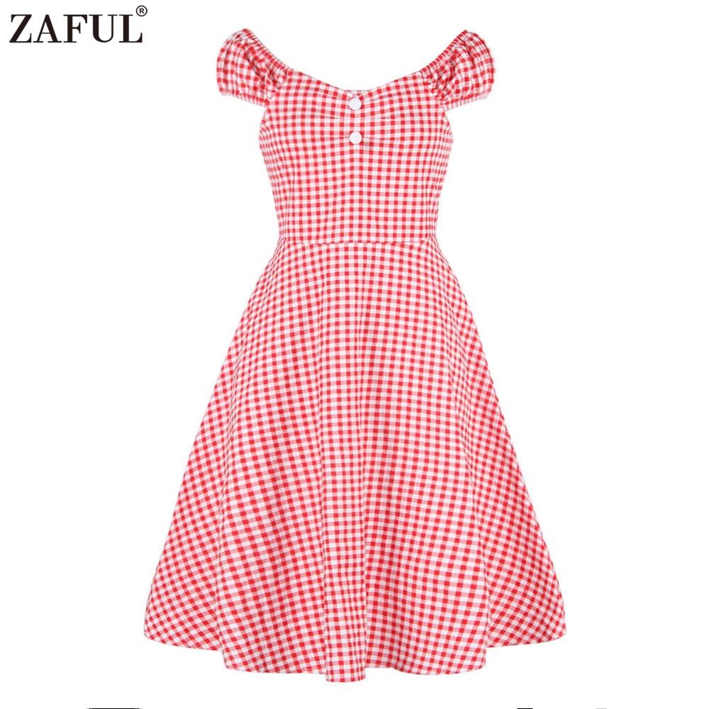 ZAFUL Women Summer Cotton Rockabilly Dress 60s Check ...