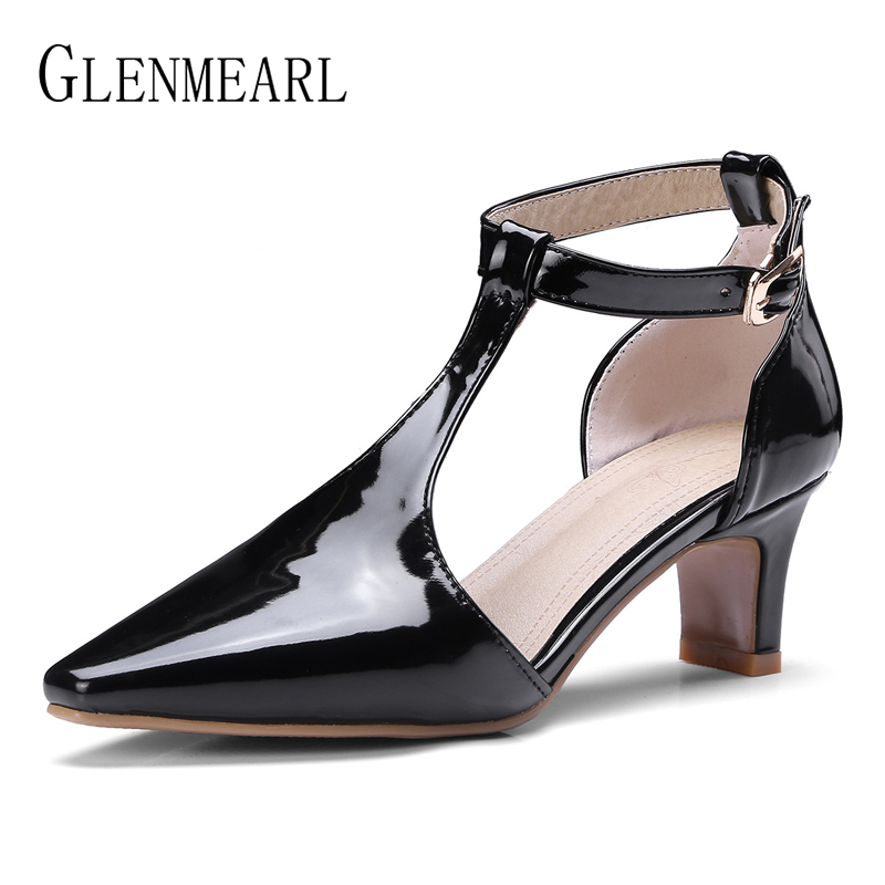Shoes Woman High Heels Mary Jane Pointed Toe Women Pumps Brand Ankle Strap Summer Shoes Thin Heel Black Plus Size New Arrvial DE zorssar fashion real leather womens pumps pointed toe high heels mary jane shoes low heel women shoes woman sandals green